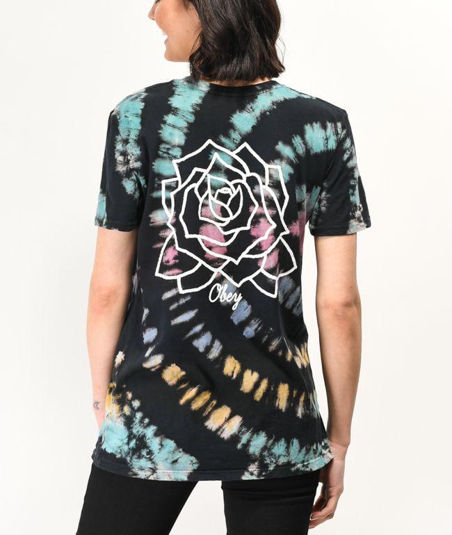 Obey Mira Rosa camiseta tie dye negra, morada, azul y dorada
