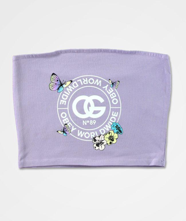 Obey Rue De La Rue Butterfly Lavender Tube Top