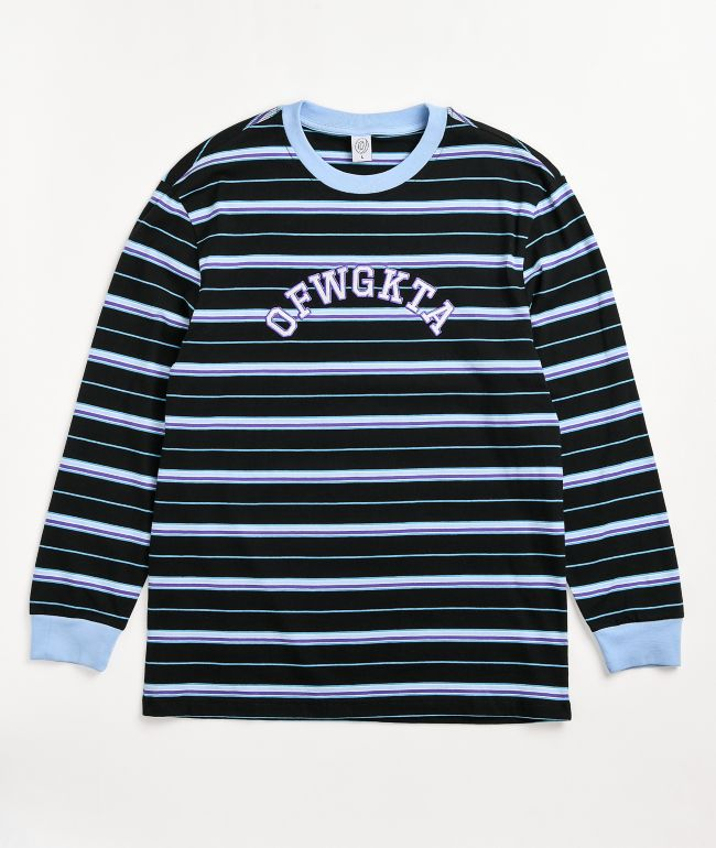 Odd Future Arc Text Stripe Black & Blue Long Sleeve Knit T-Shirt