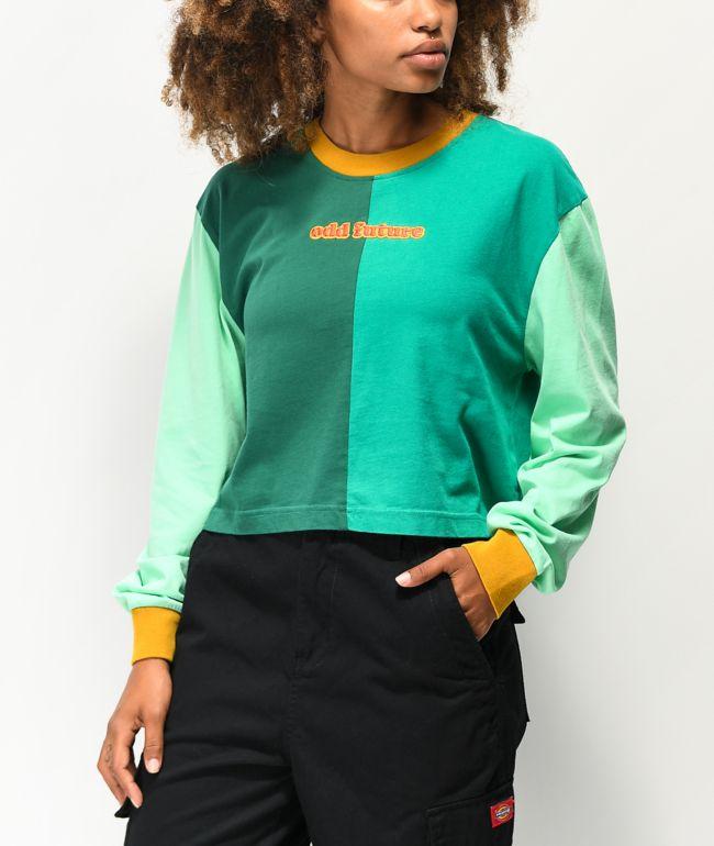 Odd Future Green Colorblock Crop Long Sleeve T-Shirt