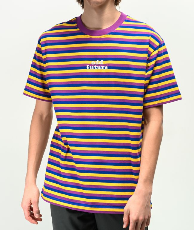 Odd Future Purple, Blue & Yellow Striped T-Shirt