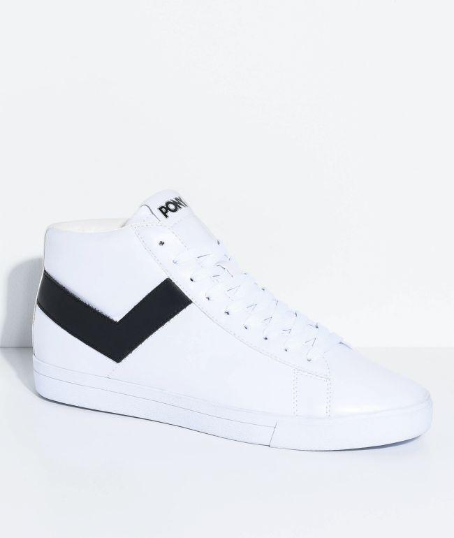 PONY Topstar Hi White \u0026 Black Shoes