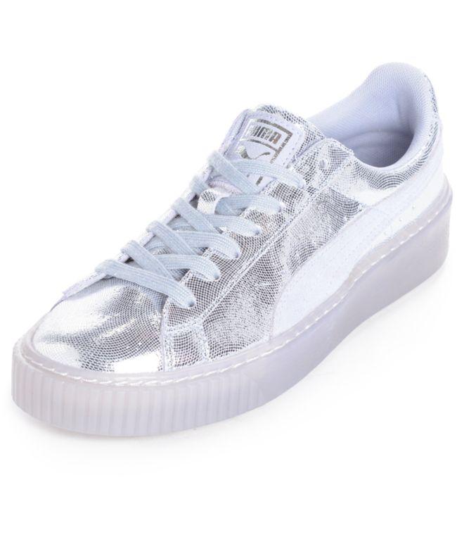 PUMA Basket Platform NS Silver Shoes