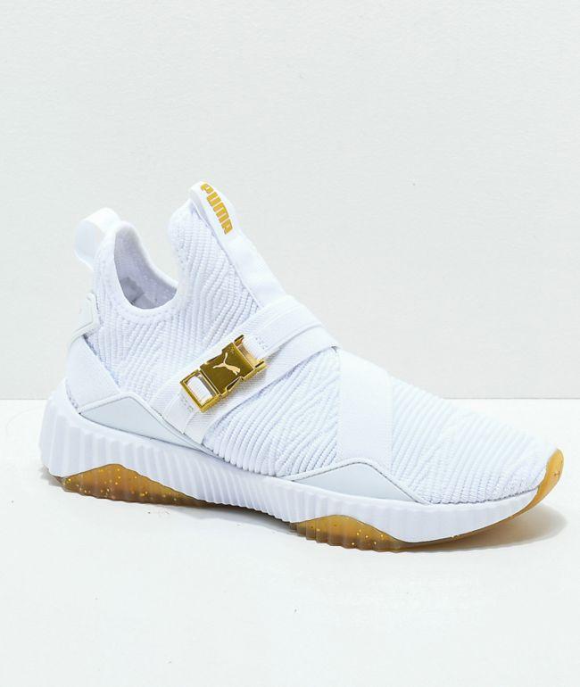 PUMA Defy Varsity Mid White & Gold Shoes