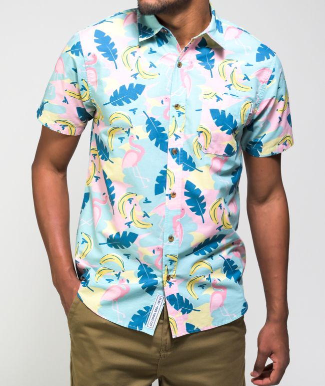 Party Pants Champions Blend Pink Short Sleeve Button Up Shirt