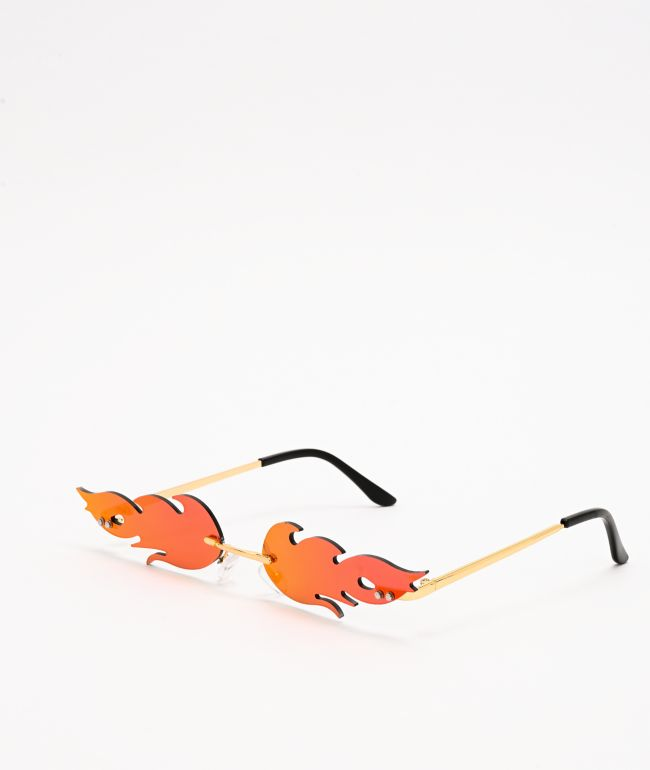 Petals and Peacocks Flames Red & Gold Sunglasses