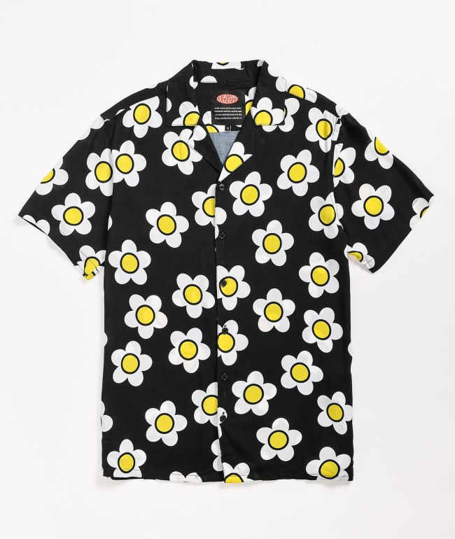 Petals and Peacocks Loves Me Flowers Short Sleeve Button Up Shirt
