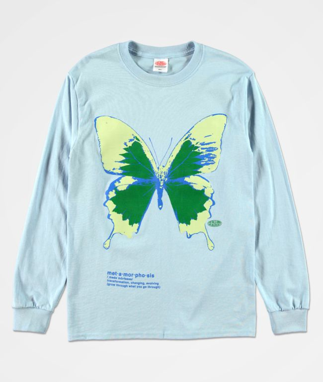 Petals and Peacocks Metamorphosis Blue Long Sleeve T-Shirt