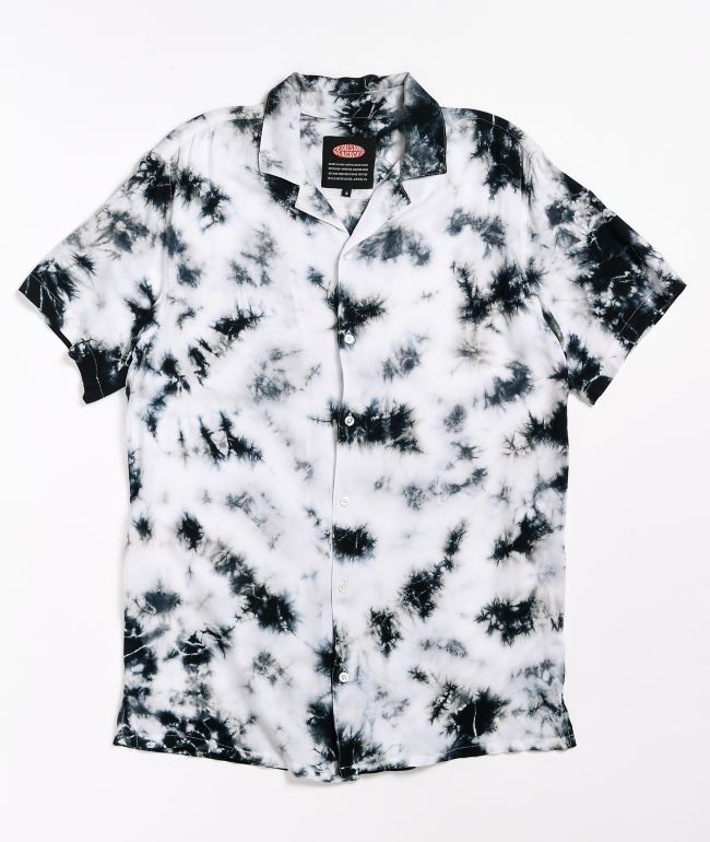 Petals and Peacocks Milkstone Short Sleeve Button Up Shirt