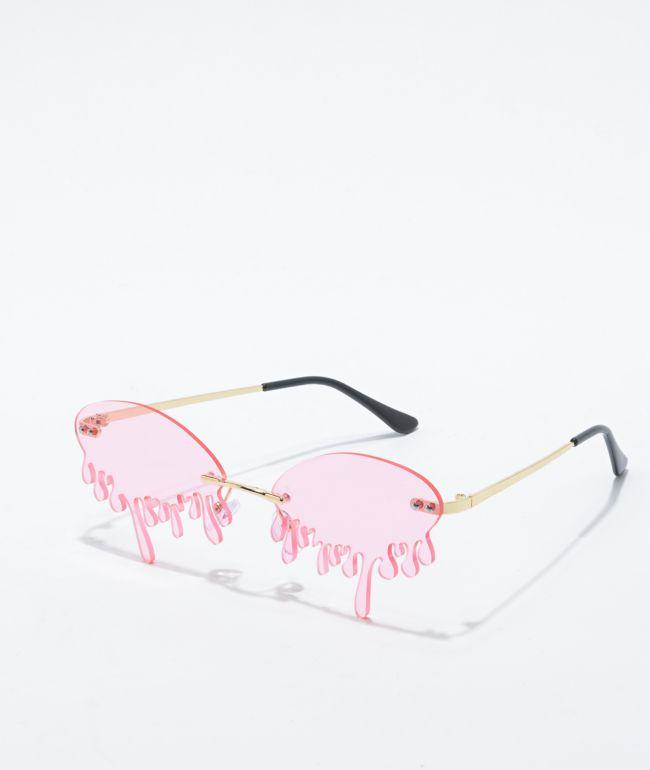 Petals and Peacocks Water Drop Pink & Gold Sunglasses