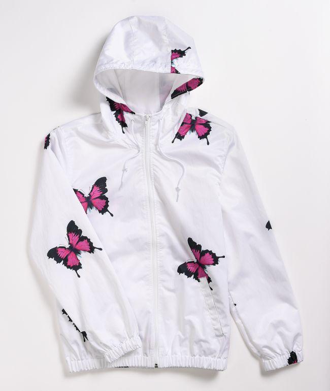 Petals by Petals & Peacocks Beautiful Butterfly White Windbreaker Jacket