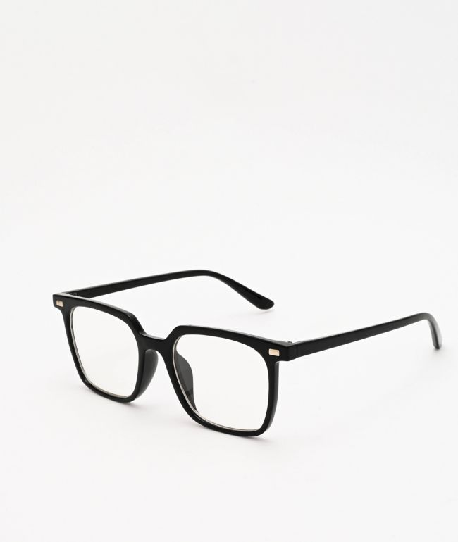 Pretender Square Frame Black Clear Glasses Zumiez