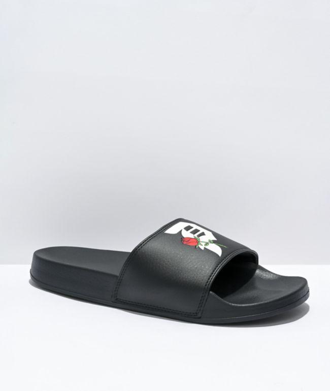 Primitive Rosebud Black Slide Sandals