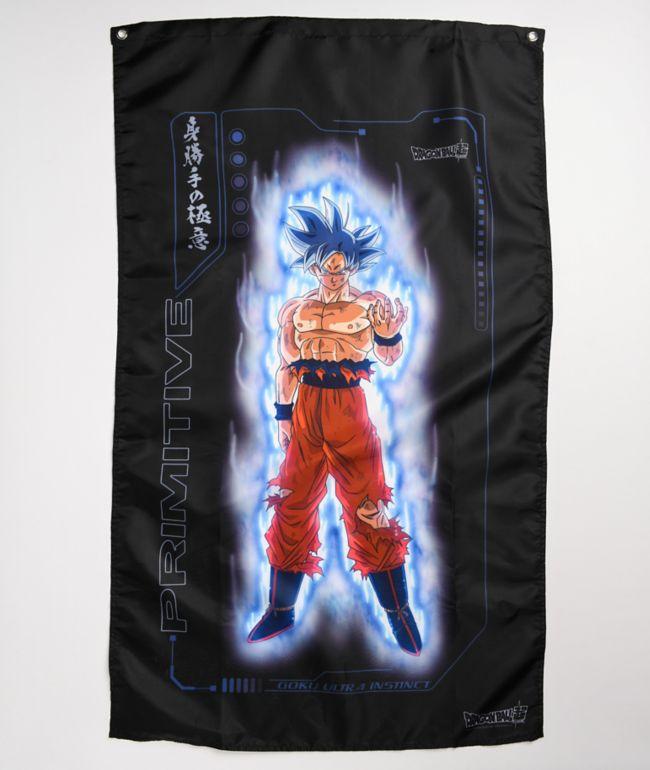 Primitive x Dragon Ball Super Goku Ultra Instinct pancarta negra