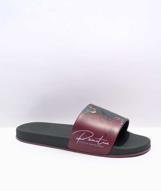 Primitive x Naruto Shippuden Crows Burgundy Slide Sandals