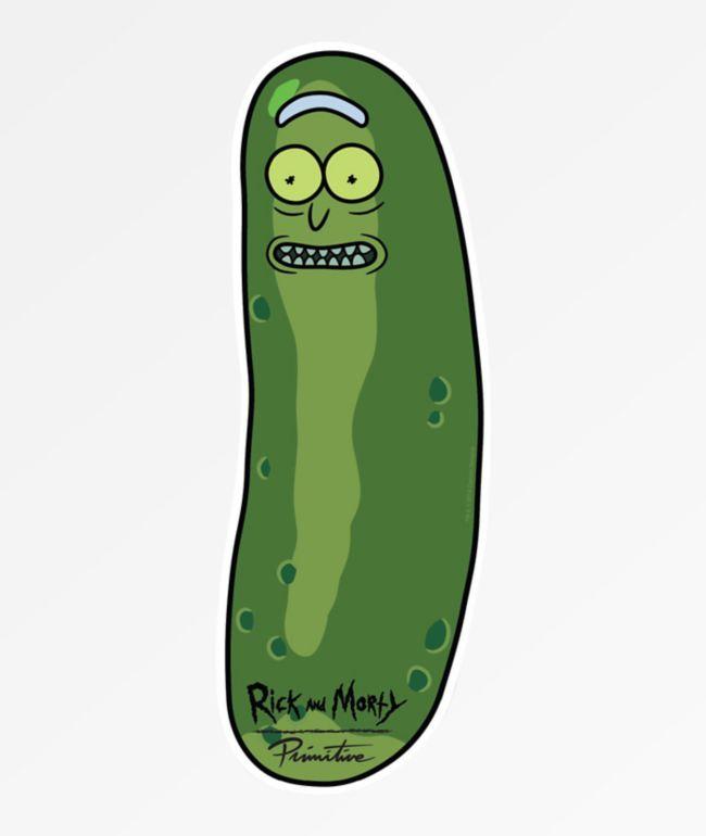 Primitive x Rick and Morty Pickle Rick pegatina