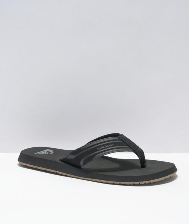 Quiksilver Monkey Wrench Black, Black & Brown Sandals