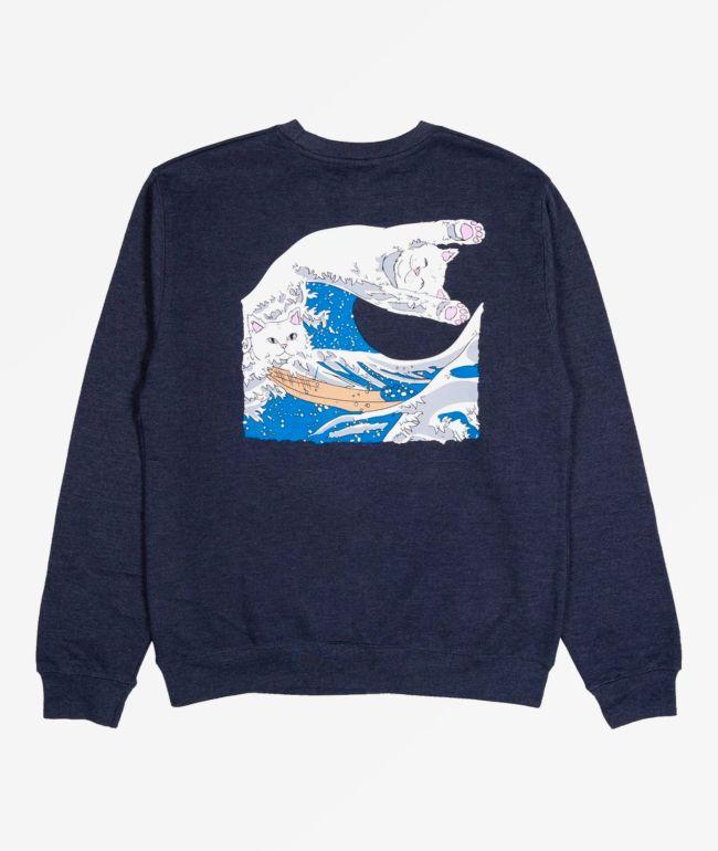 RIPNDIP Great Wave Navy Blue Crew Neck Sweatshirt