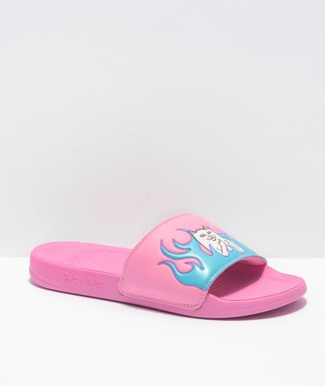 RIPNDIP Lord Nermal Pink & Blue Flame Slides