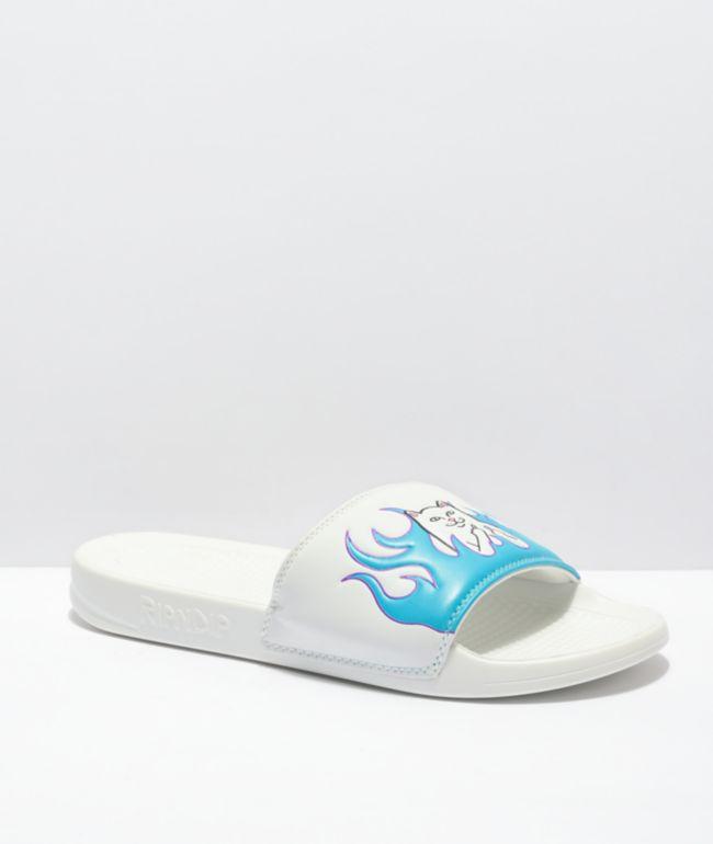 RIPNDIP Lord Nermal White & Blue Flame Sandals