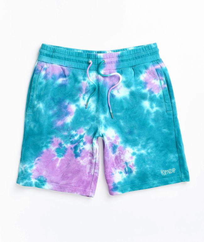 RIPNDIP Peeking Nerm Teal Tie Dye Sweat Shorts