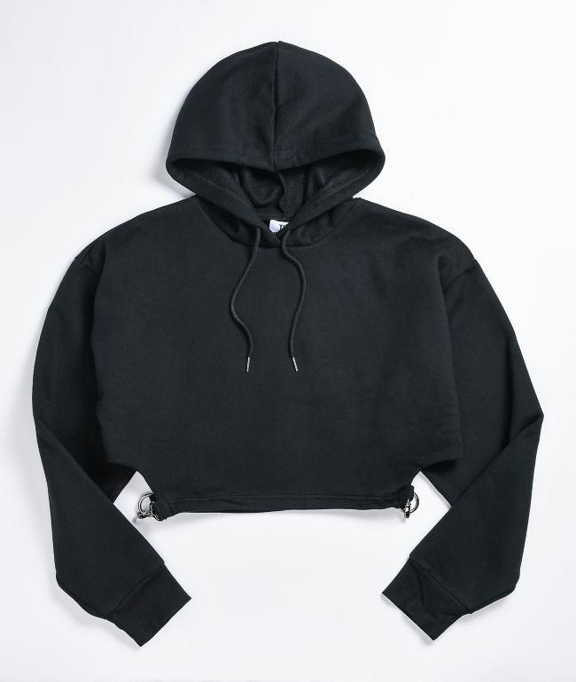 Ragged Jeans Cutout Waist Black Crop Hoodie