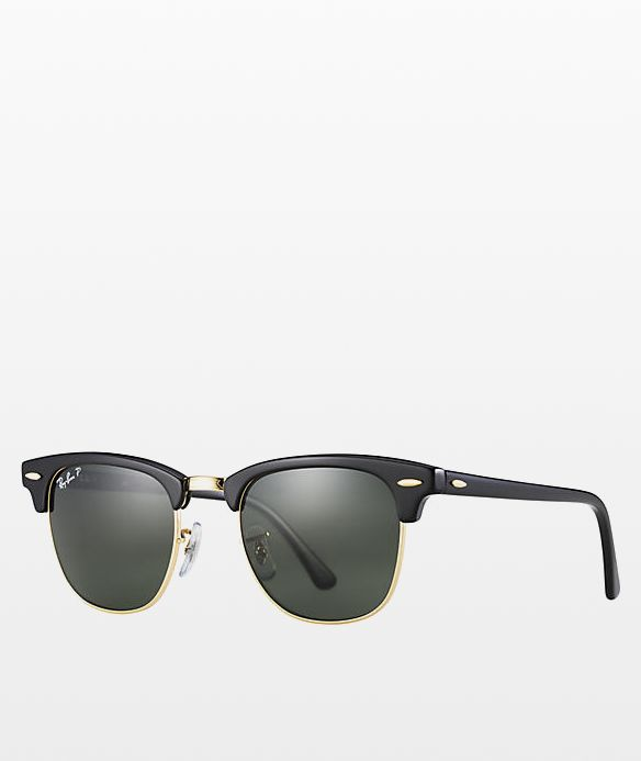 Ray-Ban Clubmaster Black & Gold Polarized Sunglasses