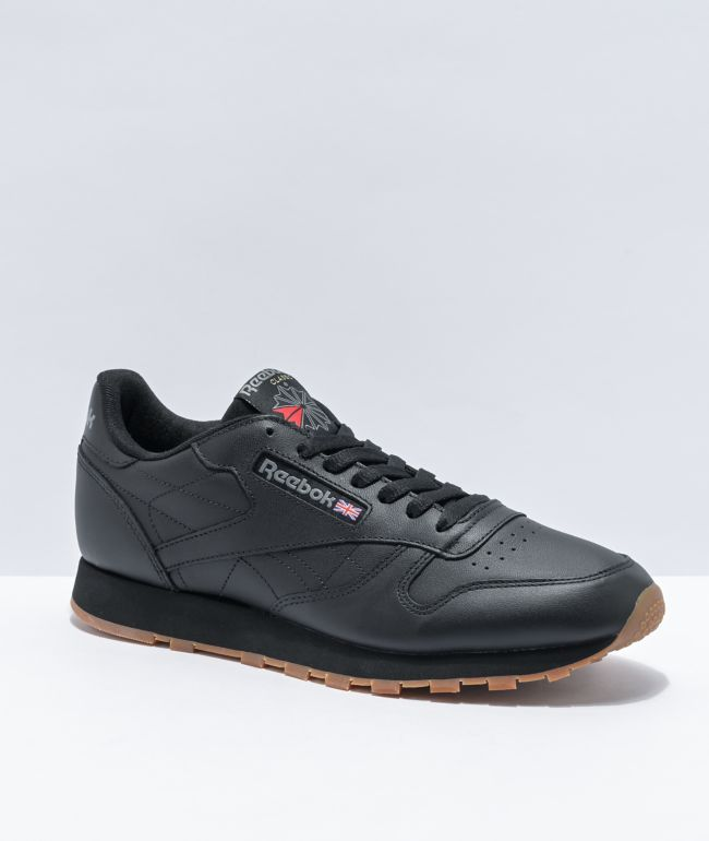Reebok Classic Leather Black & Gum Shoes