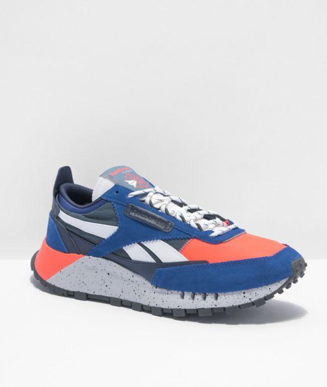 Reebok Classic Leather Legacy Royal & Orange Flair Shoes