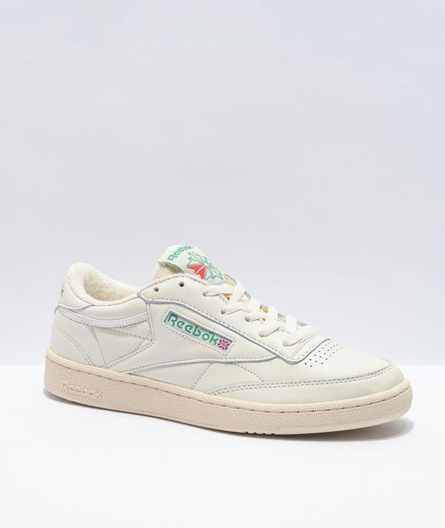 Reebok Club C 85 Chalk, Green & White Shoes
