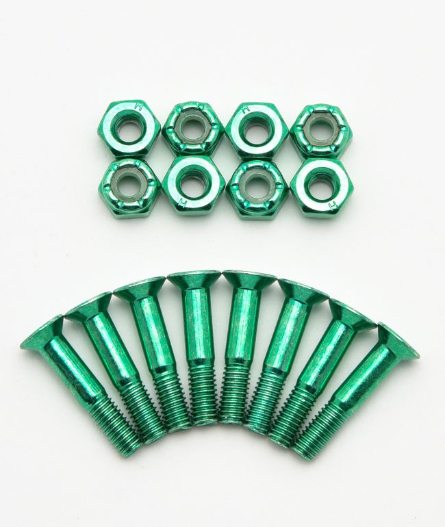 "Rush Green Anodized 1"" Skateboard Hardware"