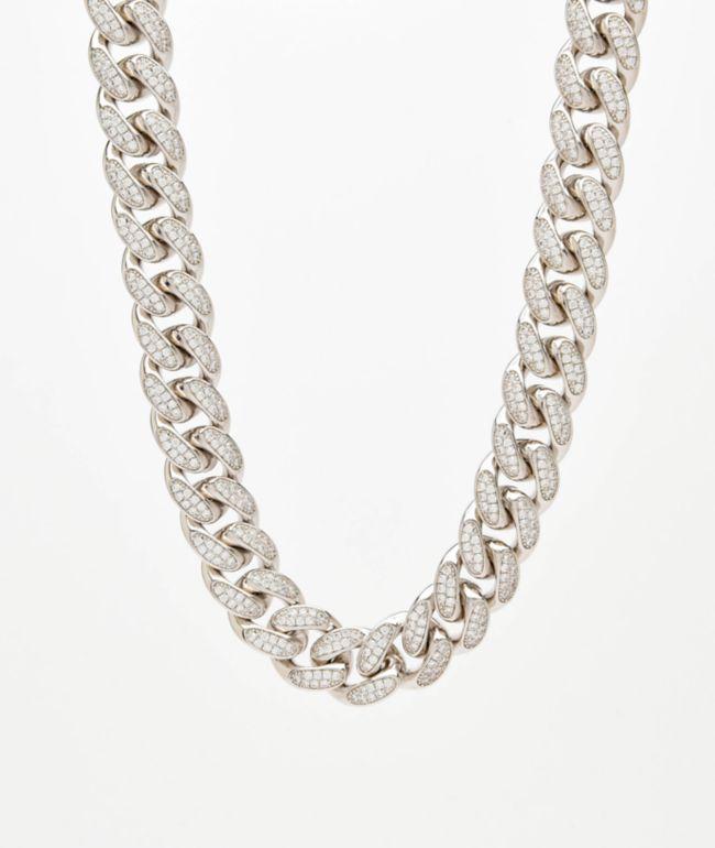 """Saint Midas 18mm CZ Cuban Link 22"""" White Gold Chain Necklace"""