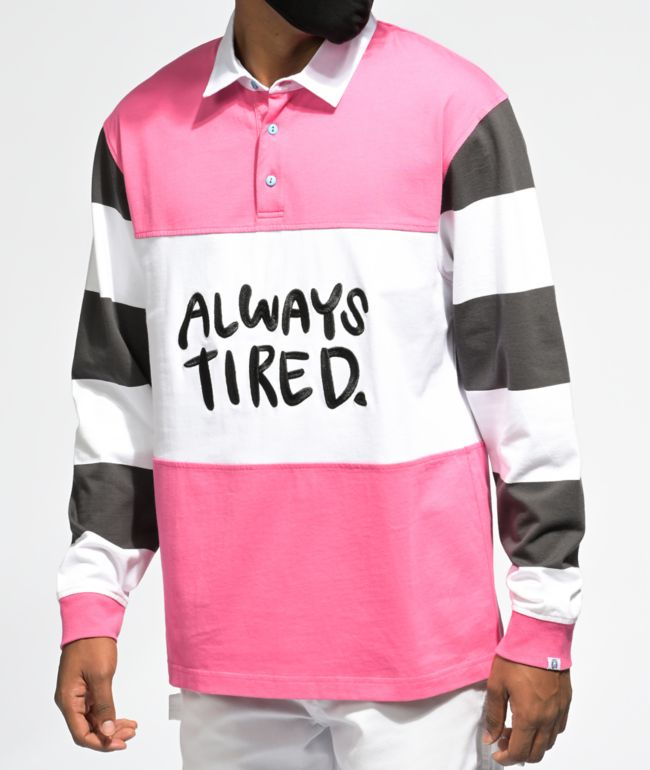 Salem7 Always Tired Pink, White & Black Rugby Shirt