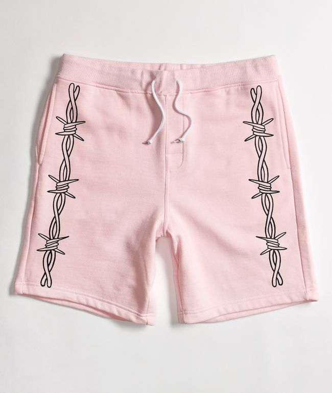 Salem7 Barbed Wire Pink Sweat Shorts