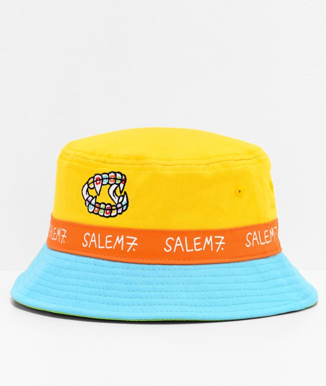 Salem7 Teeth Blue & Yellow Colorblock Bucket Hat