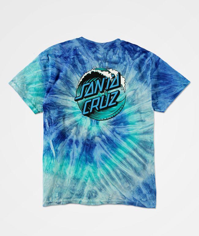 Santa Cruz Boys Wave Dot Blue Tie Dye T-Shirt