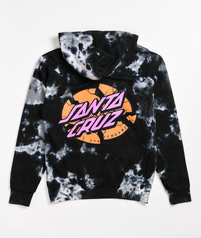 Santa Cruz Broken Dot Black & White Tie Dye Hoodie