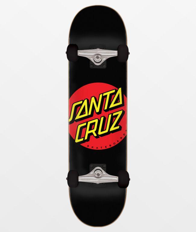 """Santa Cruz Classic Dot 8.0"""" Black Skateboard Complete"""