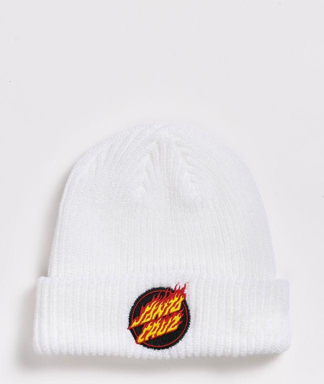 Santa Cruz Flame Dot White Beanie