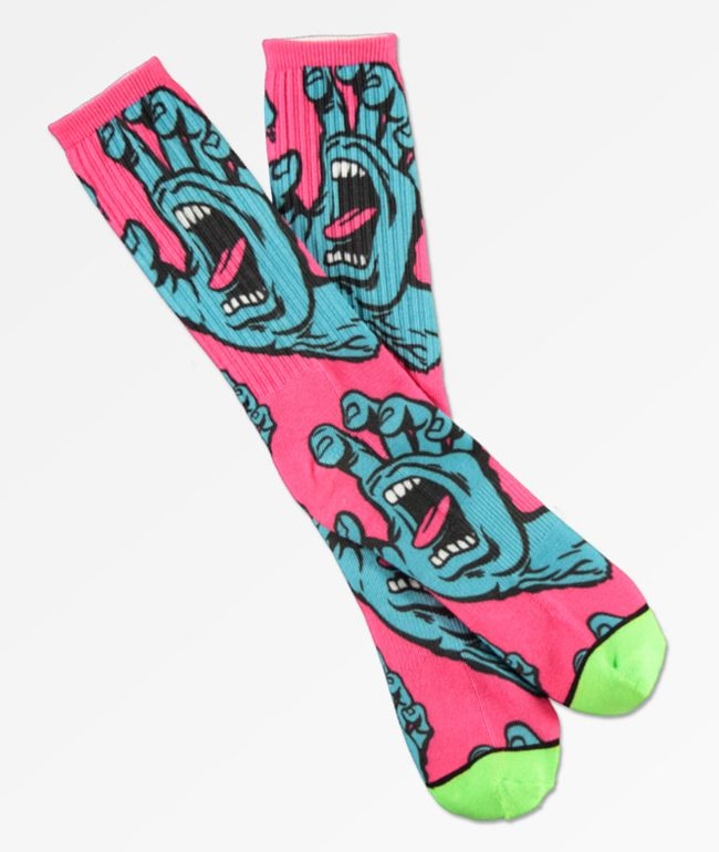 Santa Cruz Hands Allover Pink & Green Crew Socks
