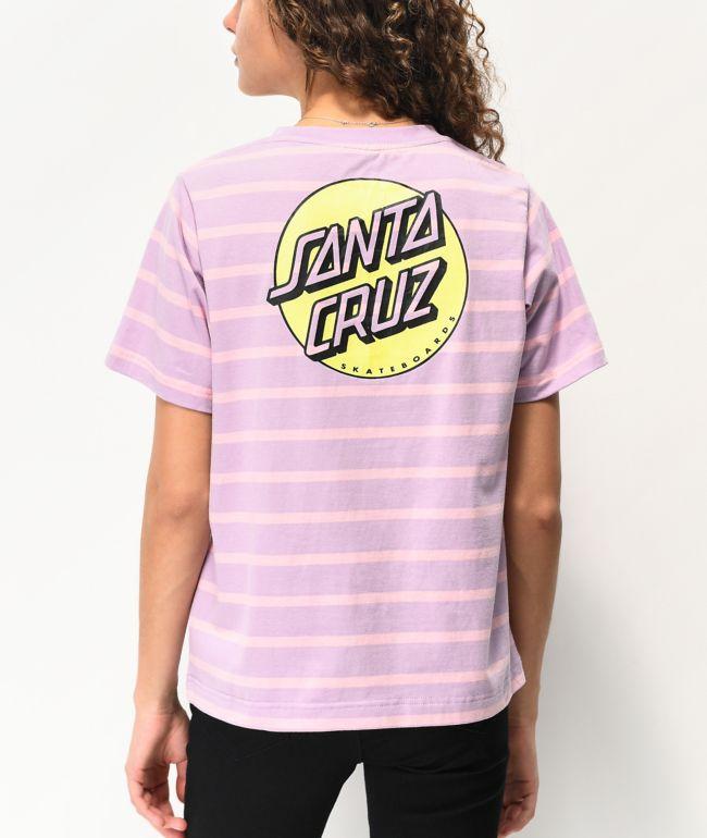 Santa Cruz Missing Dot Stripe Lilac & Pink T-Shirt