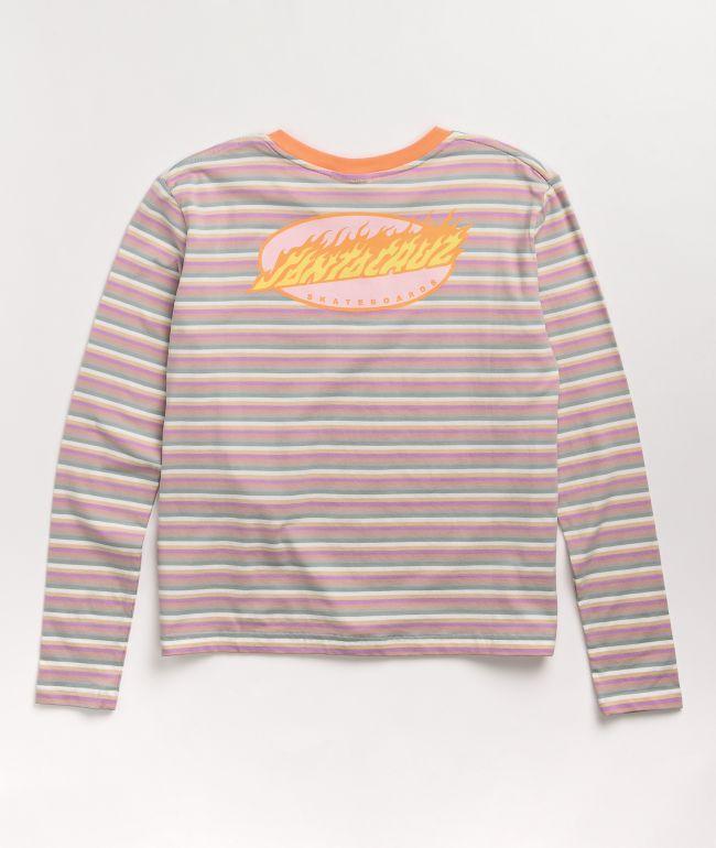 Santa Cruz Oval Flame Dot  Orange & Multi Long Sleeve T-Shirt