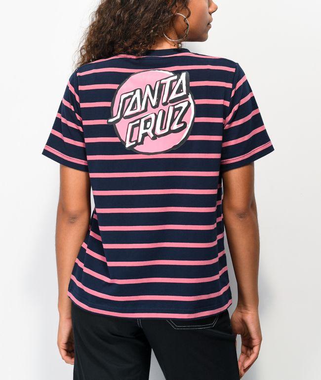 Santa Cruz Scribble Dot Navy & Pink Stripe T-Shirt