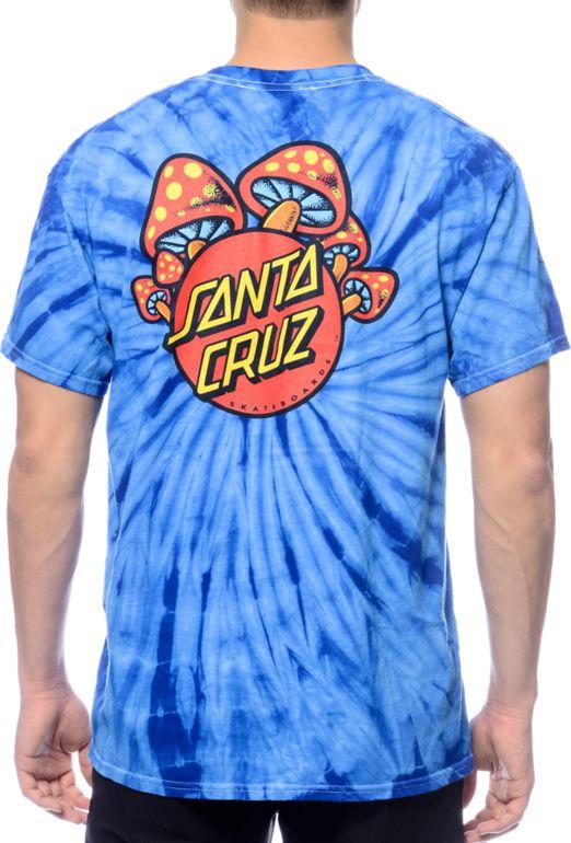 Santa Cruz Shroom Dot Blue Tie Dye T-Shirt