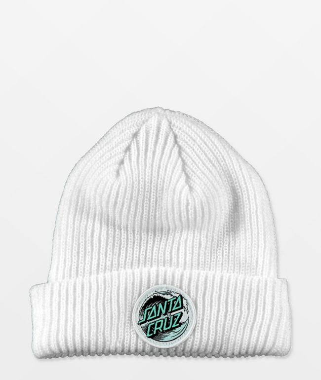 Santa Cruz Wave Dot White Beanie