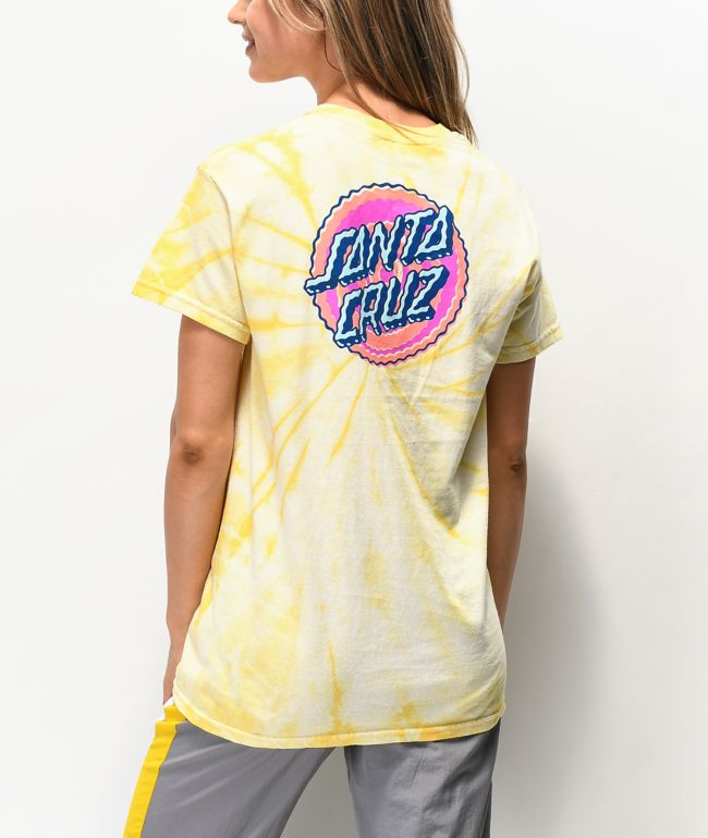 Santa Cruz Wiggle Dot Yellow Tie Dye T-Shirt