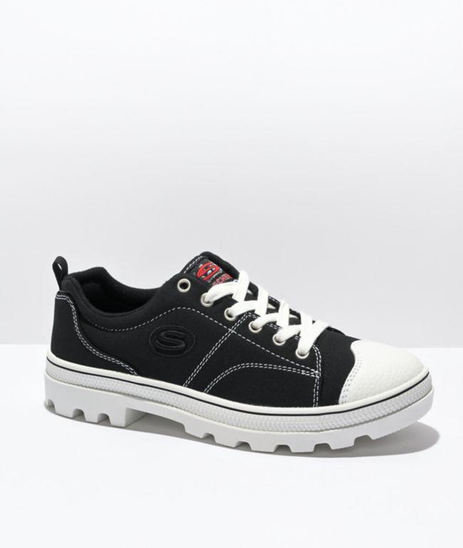 Skechers Roadies Black & White Shoes