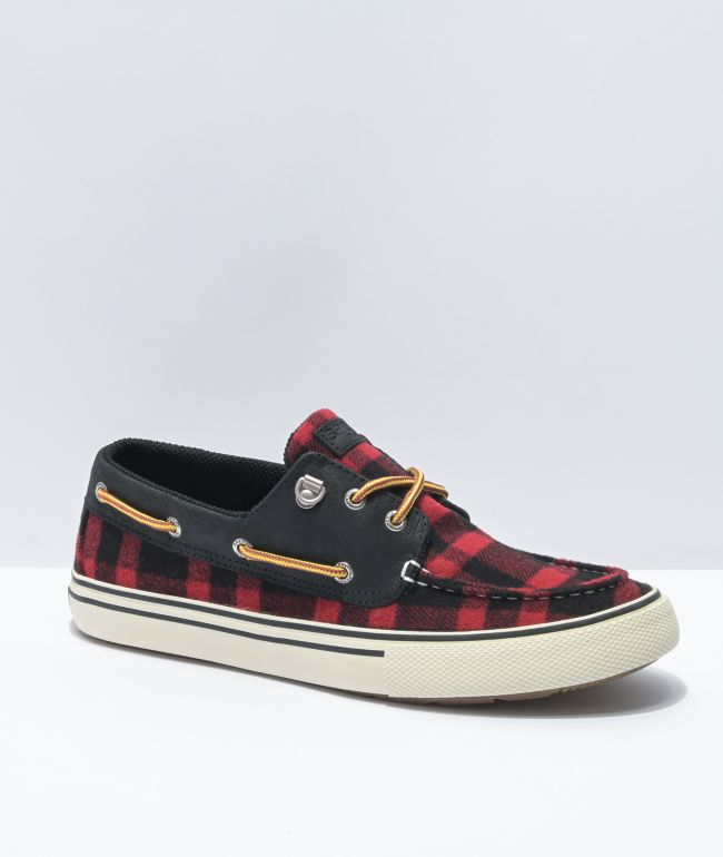 Sperry Bahama Storm Black & Red Buffalo Check Shoes
