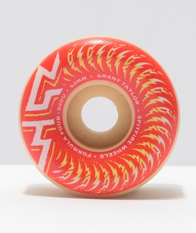 Spitfire Formula Four Classic Taylor 53mm 99a Red, Yellow & Natural Skateboard Wheels