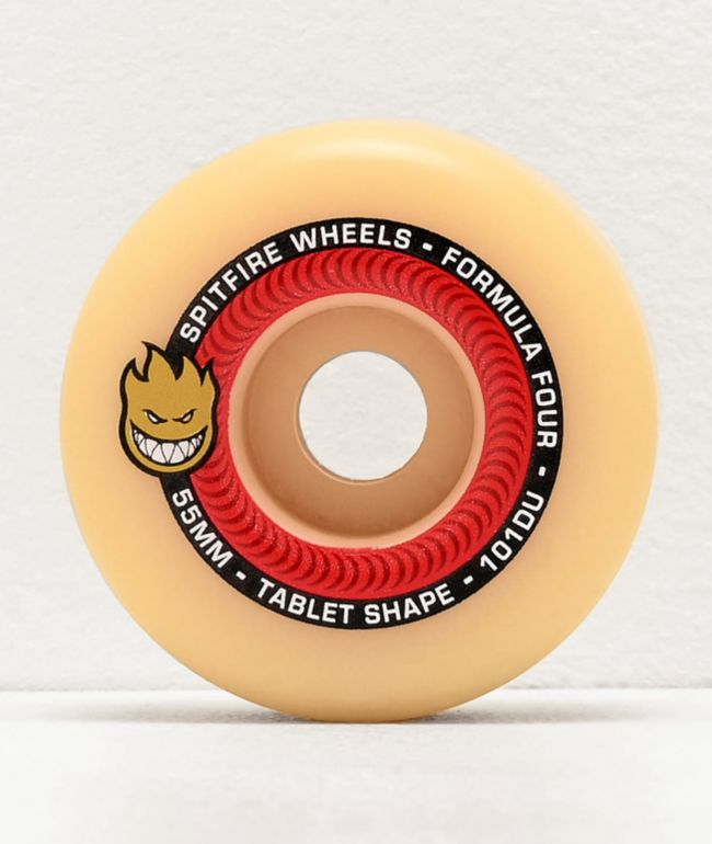Spitfire Formula Four Tablet 55mm 101a Red & Natural Skateboard Wheels